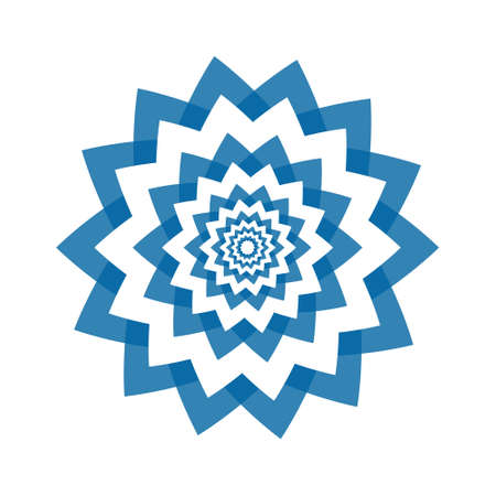 Light blue abstract geometric flower symbol template. Business abstract icon isolated on white. 일러스트