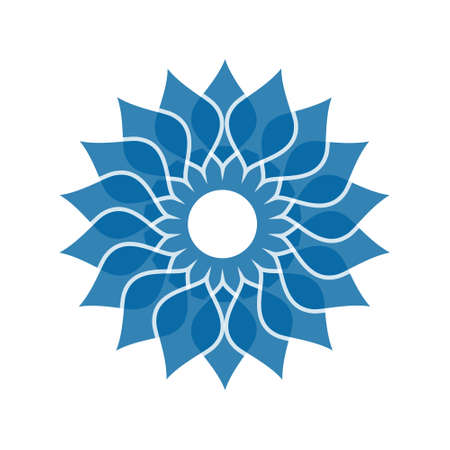Light blue abstract geometric flower symbol template. Business abstract icon isolated on white.  イラスト・ベクター素材