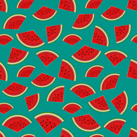Summer seamless background on turquoise. Realistic watermelon with slices. Cool party abstract. Summer vacation concept 写真素材