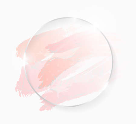 Silver shiny glowing round frame with rose pastel brush strokes isolated on white. Christmas card design. Golden luxury line border for invitation, sale, fashion, wedding, photo etc. Vector