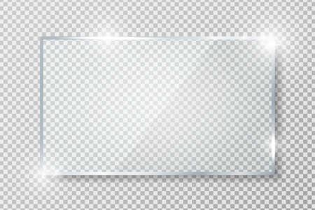 Transparentes Glasbanner mit Reflexion auf transparentem Hintergrund. Leere glänzende Glasplatte. Vektorgrafik
