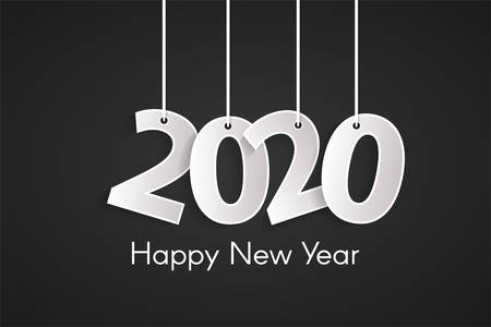 Happy New Year 2020 concept with paper cutted white numbers on ropes. Origami black style numbers. Christmas and Chinese New Year decor. Vector illustration Ilustracja