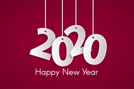 Happy New Year 2020 concept with paper cutted white numbers on ropes. Origami pink style numbers. Christmas and Chinese New Year decor. Vector illustration Ilustracja