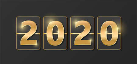 2020 golden shiny sign. New year and Christmas 2020 gold concept. Luxury numbers on banner. Congratulation or sale abstract. Grey new year eve countdown. Scoreboard style. Vector illustration Ilustracja