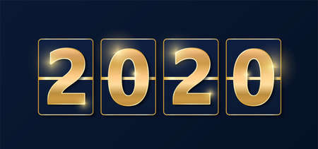 2020 golden shiny sign. New year and Christmas 2020 gold concept. Luxury numbers on banner. Congratulation or sale abstract. Blue new year eve countdown. Scoreboard style. Vector illustration