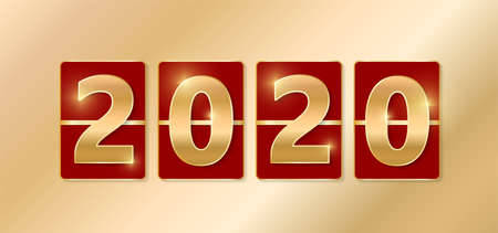 2020 golden shiny sign. New year and Christmas 2020 gold concept. Luxury numbers on banner. Congratulation or sale abtract. Red new year eve countdown. Scoreboard style. Vector illustration Illustration