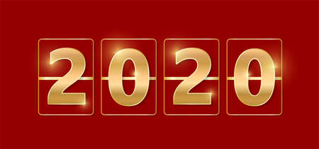 2020 golden shiny sign. New year and Christmas 2020 gold concept. Luxury numbers on banner. Congratulation or sale abstract. Red new year eve countdown. Scoreboard style. Vector illustration