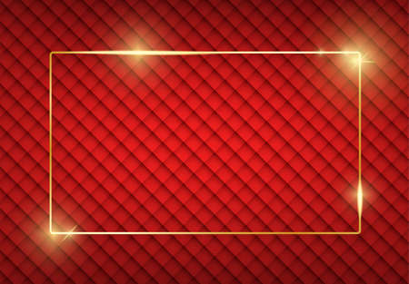 Gold shiny glowing frame with shadows on red vintage texture. Golden luxury realistic rectangle border. Christmas and New Year empty card. For sale, invitation, flyer, cover, poster design 免版税图像