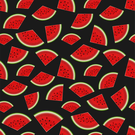 Summer seamless background on black. Realistic watermelon with slices. Cool party abstract. Summer vacation concept 写真素材