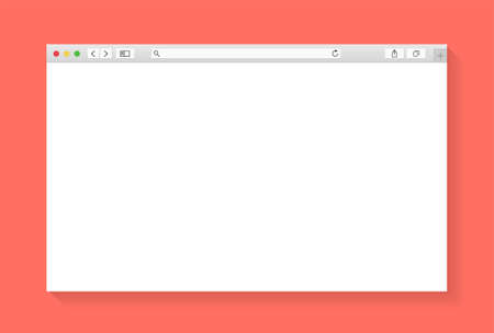 Modern browser window design isolated on living coral background. Web window screen mockup. Internet empty page concept with shadow 写真素材