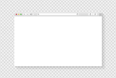 Conception de fenêtre de navigateur moderne isolée sur fond transparent. Maquette d'écran de fenêtre Web. Concept de page vide Internet avec ombre. Illustration vectorielle Vecteurs