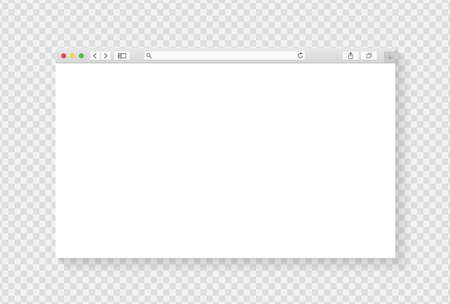 Modern browser window design isolated on transparent background. Web window screen mockup. Internet empty page concept with shadow. Vector illustration