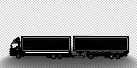 Vector detailed silhouette of truck with a trailer isolated on transparent background. Black and white vehicle icon with shadow. Vector illustration Illustration