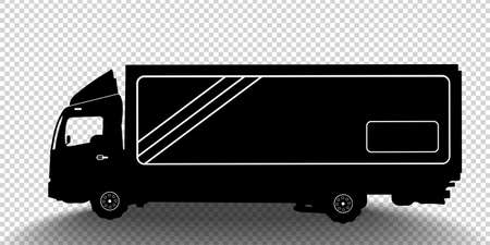 Vector detailed silhouette of truck isolated on transparent background. Black and white vehicle icon with shadow. Vector illustration