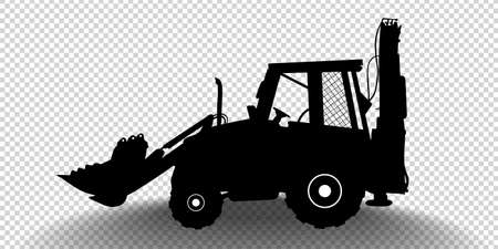Vector detailed silhouette of bulldozer isolated on transparent background. Black and white vehicle icon with shadow. Vector illustration