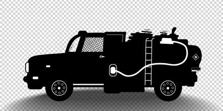 Vector detailed silhouette of fuel carrier truck isolated on transparent background. Black and white vehicle icon with shadow. Vector illustration Ilustrace