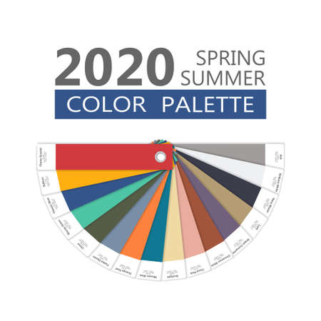 Round spring and summer 2020 colors palette on white. Fashion trend guide. Palette fashion colors guide with named color swatches, RGB and HTML. Color of the year - Classic Blue. Vector illustration 向量圖像