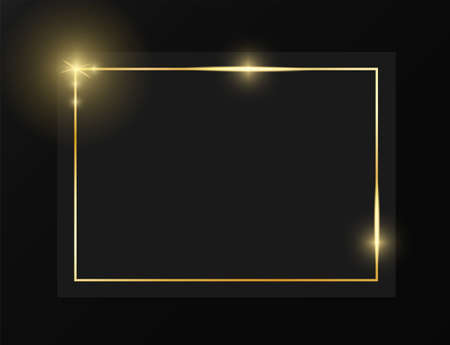 Gold shiny glowing vintage frame on grey plate isolated on black background. Golden luxury realistic border. Wedding, mothers or Valentines day concept. Xmas and New Year paper abstract. Vector