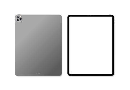 Empty screen realistic new tablet computer mockup design. Modern tablet PC isolated on white background. Tablet mockup. Vector Illustration
