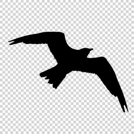 Detailed bird black silhouette isolated on transparent background. Bird icon. Flat style bird sign. Vector illustration