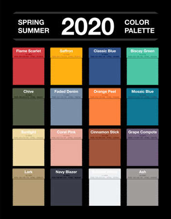 Spring and summer 2020 colors palette on black. Fashion trend guide. Palette fashion colors guide with named color swatches, RGB and HTML. Color of the year - Classic Blue. Vector illustration 向量圖像