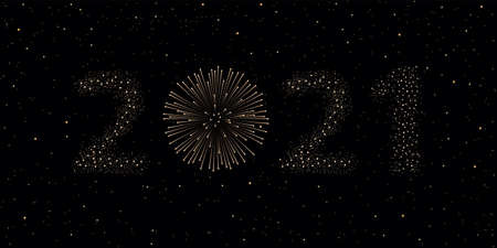 Firework 2021 New year concept on black night sky background. Christmas card. Congratulations or invitation background. Vector illustration