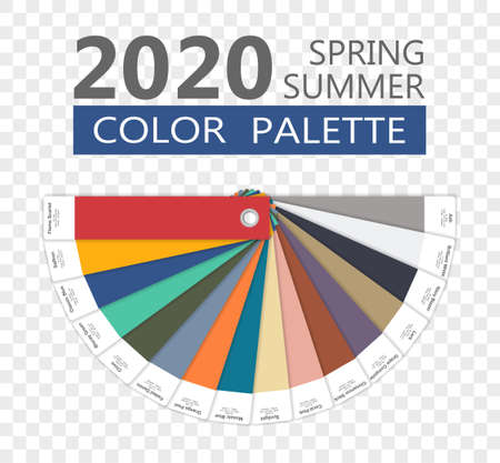 Round spring and summer 2020 colors palette on transparent backround. Fashion trend guide. Palette fashion colors guide with named color swatches, RGB and HEX. Color of the year - Classic Blue. Vector