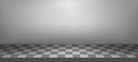 Illuminated realistic studio checkered background. Presentation decorations. Room empty space. Showroom concept. Vector illustration