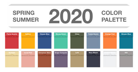 Spring and summer 2020 colors palette on white. Fashion trend guide. Palette fashion colors guide with named color swatches, RGB and HTML. Color of the year - Classic Blue. Vector illustration