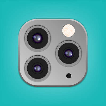 Realistic camera lenses 3D icon isolated on clear turquoise ambient background. Vector Illustration Illustration
