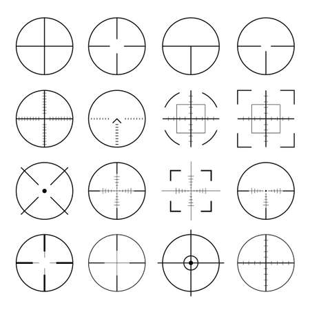 Pack of sniper rifle aims isolated. Crosshairs target choose destination icons. Aim shoot focus cursor. Bullseye mark targeting. Game aiming sight dot pointer set. Vector illustration Ilustrace