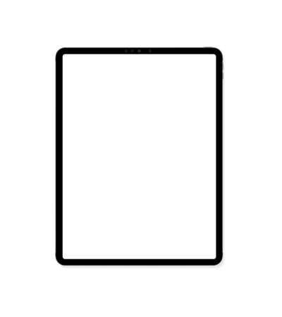 Empty screen tablet computer mockup design. Modern tablet PC isolated on white background. Vector Illustration Ilustracja