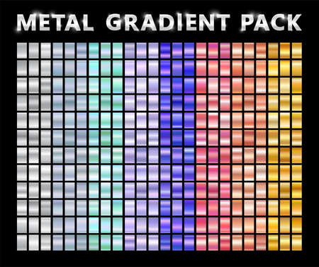 Realistic metal chrome gradient big texture pack. Shiny metal foil gradient set. Vector illustration
