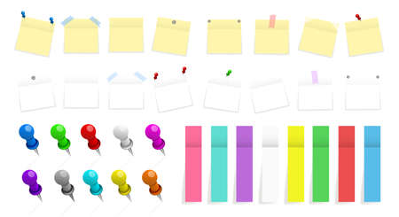 Mega pack of colored office paper stickers and metal pins with shadows isolated on white background. Reminder tag elements mock up. Vector illustration