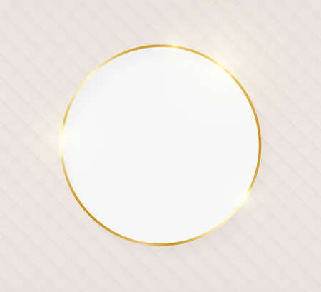 Gold shiny glowing luxury round greeting card on beige skin background. Golden luxury realistic border card. Wedding, mothers or Valentines day concept. Xmas and New Year abstract. Vector illustration