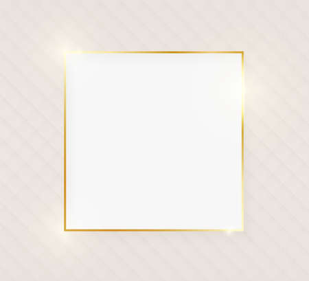 Gold shiny glowing luxury square greeting card on beige skin background. Golden luxury realistic border card. Wedding, mothers or Valentines day concept. Xmas and New Year abstract. Vector