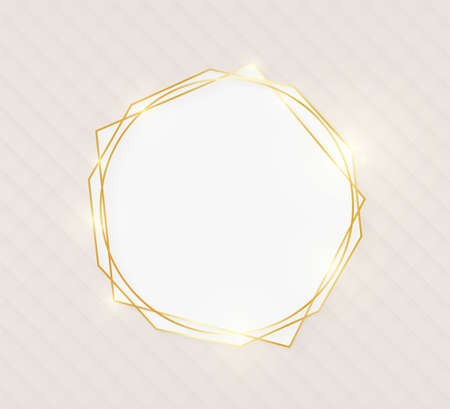 Gold shiny glowing luxury art greeting card on beige skin background. Golden luxury realistic border card. Wedding, mothers or Valentines day concept. Xmas and New Year abstract. Vector illustration