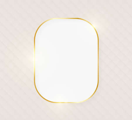 Gold shiny glowing luxury rectangle greeting card on beige skin background. Golden luxury realistic border card. Wedding, mothers or Valentines day concept. Xmas and New Year abstract. Vector