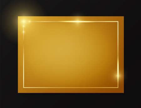 Gold shiny glowing vintage frame on plate isolated on black background. Golden luxury realistic border. Wedding, mothers or Valentines day concept. Xmas and New Year paper abstract Imagens