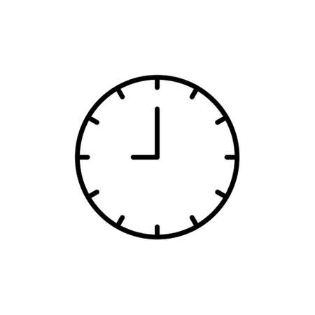 Clock line icon isolated on white background. Black and white simple watches. Time concept 免版税图像