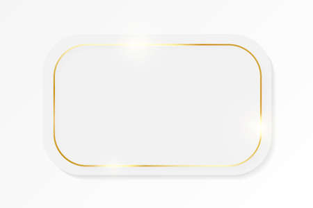 Gold shiny glowing vintage frame on whte plate isolated on white background. Golden luxury realistic border. Wedding, mothers or Valentines day concept. Xmas and New Year paper abstract