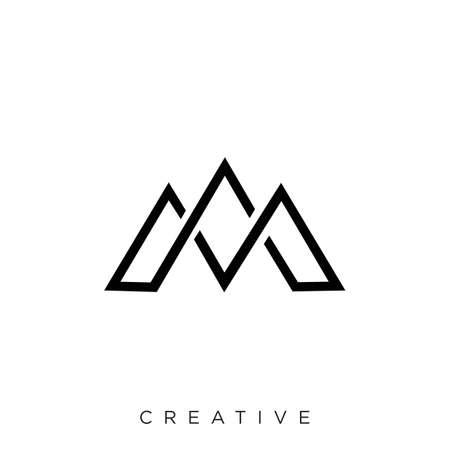 Letter M line logo design. Linear creative minimal monochrome monogram