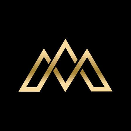 Letter M line   design. Linear creative minimal monochrome monogram