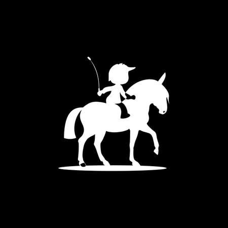 horse kid logo design vector icon