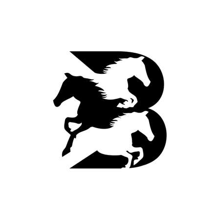 b horse logo design vector icon