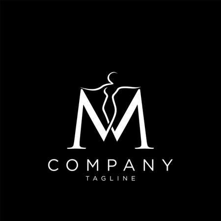 m beauty body logo design vector icon premium