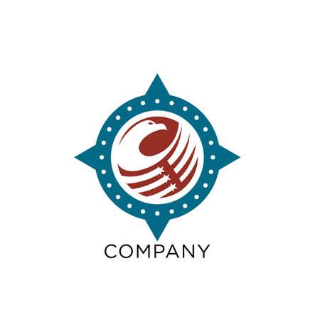 eagle compass logo design vector icon symbol