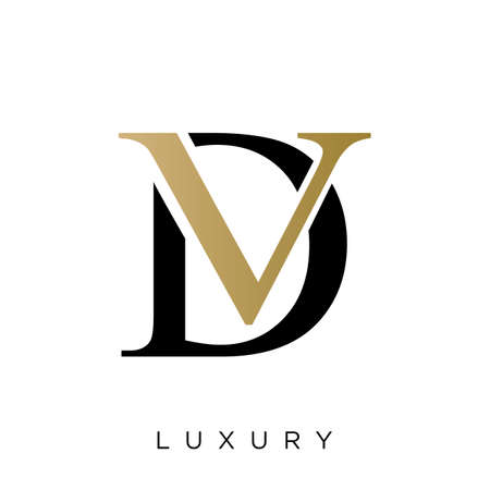 dv logo luxury design vector icon symbol