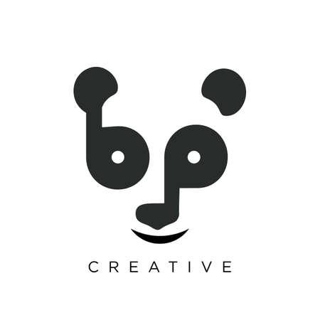 bp panda logo design vector icon symbol
