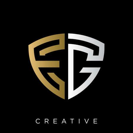 eg shield logo design vector icon symbol luxury